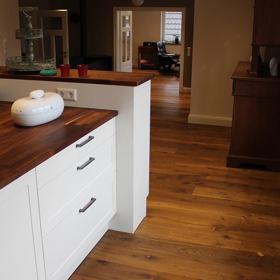 Landhausdiele Küche und Wohnzimmer | marx Holzhandel | Neuried bei Kehl