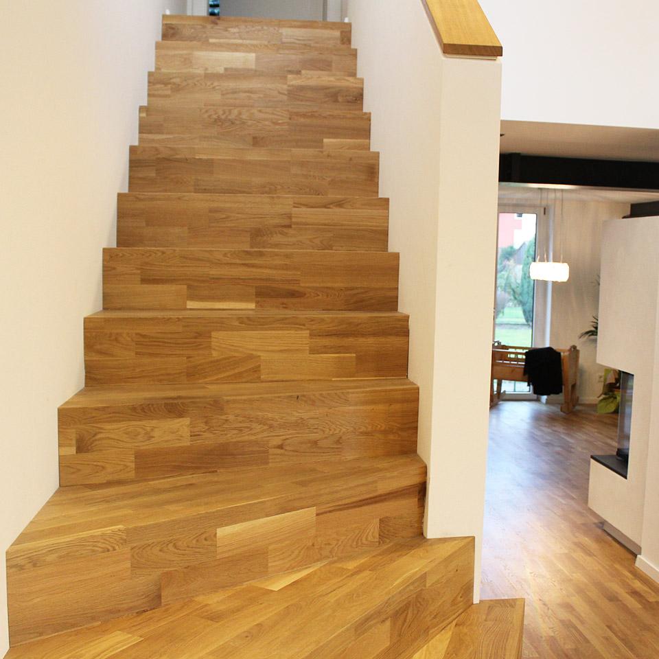 marx Holzhandel | Referenzen | Treppe Stufen mit Parkett | Neuried bei Offenburg