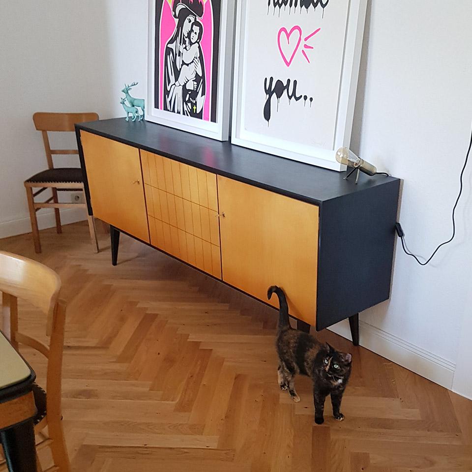 Fischgrät-Parkett mit Katze | Referenzen | marx Holzhandel bei Kehl