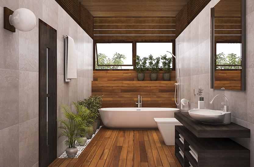 Une salle de bain élégante avec un parquet naturellement huilé | marx Le bois. Le design.