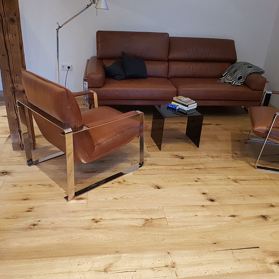 Manufaktur-Parkett in der Sitzecke | marx Holzhandel in Neuried