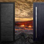 Porte d'entrée en bois brûlé Shou-Sugi-Ban
