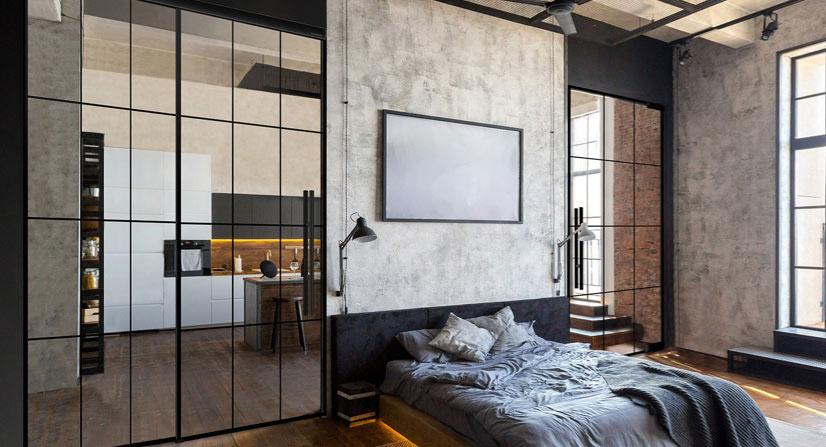 Chambre à coucher avec porte de loft en verre lignesPlus. marx Holzhandel